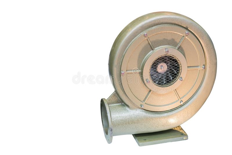 Ventilador centrífugo industrial grande o pesado del vórtice o de la presión aislado en el fondo blanco con la trayectoria de rec fotografía de archivo libre de regalías
