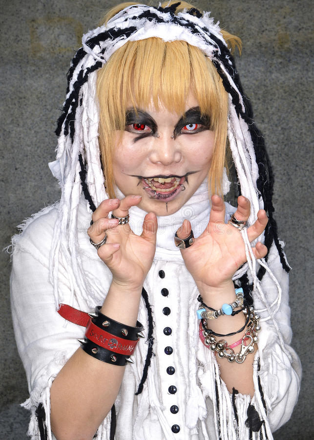 Ventilador cosplay japonés en el harajuku Tokio Japón imágenes de archivo libres de regalías