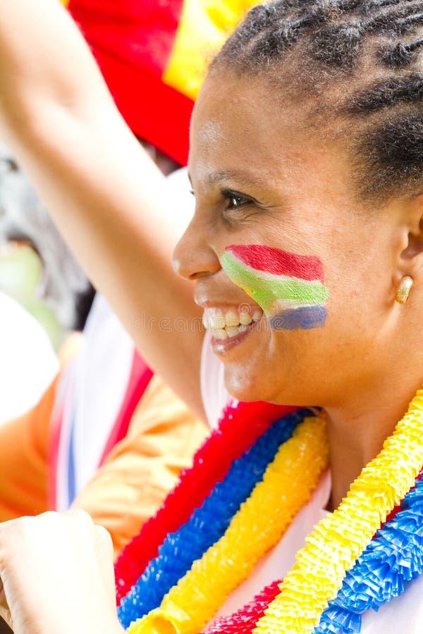 Ventilador de esportes africano foto de stock