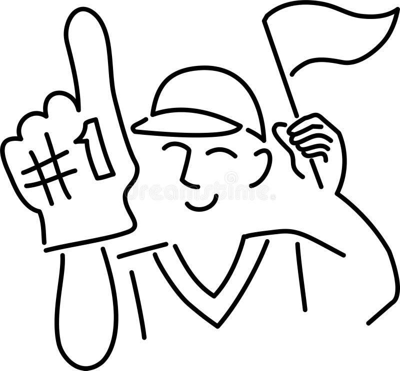 Ventilador de esportes dos desenhos animados ilustração do vetor