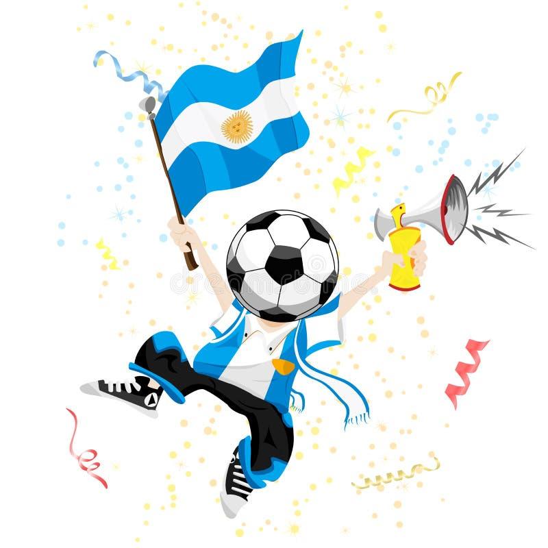 Ventilador de fútbol de la Argentina con la bola ilustración del vector