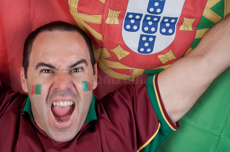 Ventilador de futebol de Portugal imagens de stock