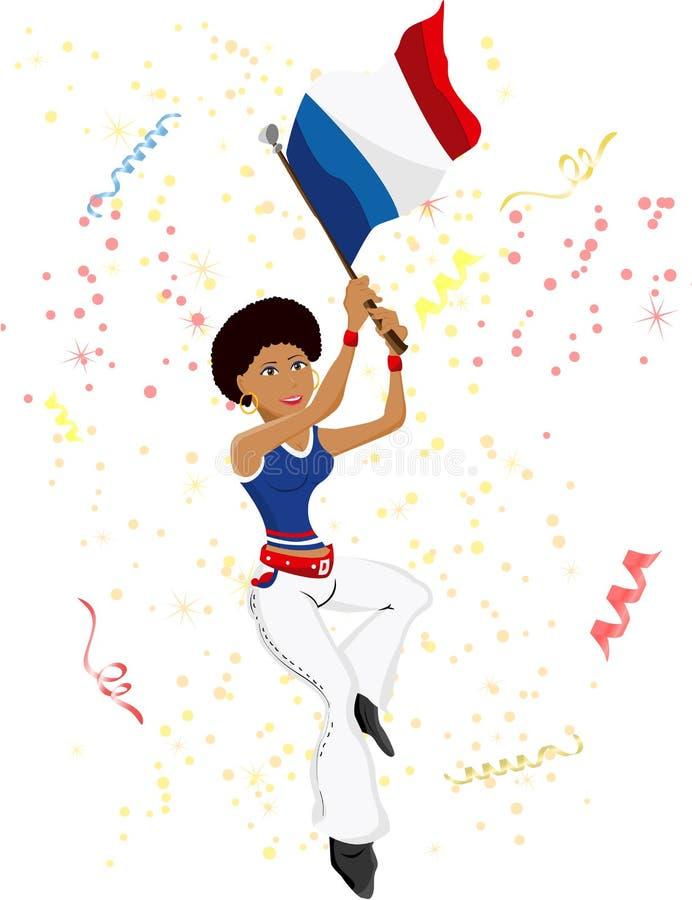 Ventilador de futebol preto de France da menina ilustração do vetor