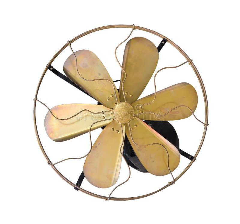 Ventilador eléctrico de la vendimia de cobre amarillo imagen de archivo