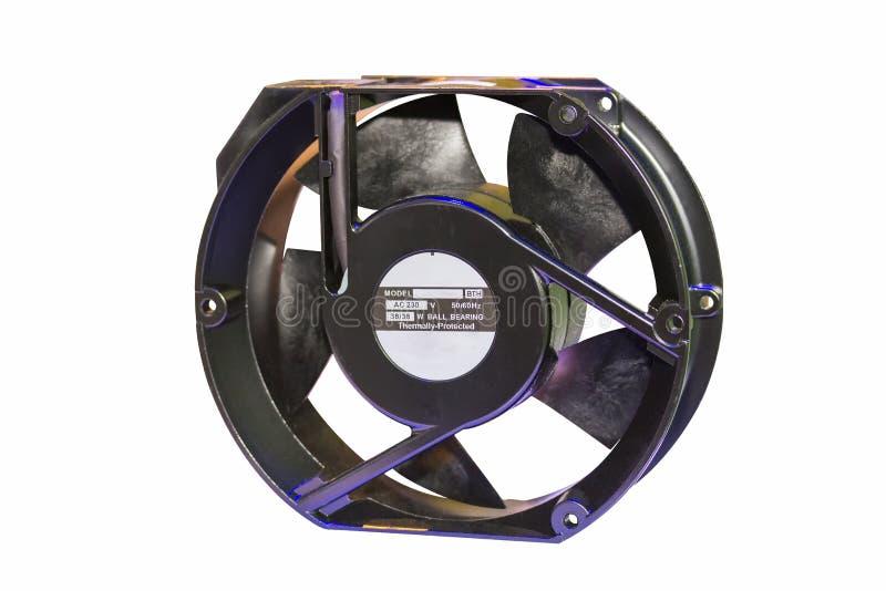 Ventilador eléctrico del nuevo color negro hecho de la aleación y del plástico de aluminio para el ordenador o industrial aislado fotografía de archivo libre de regalías