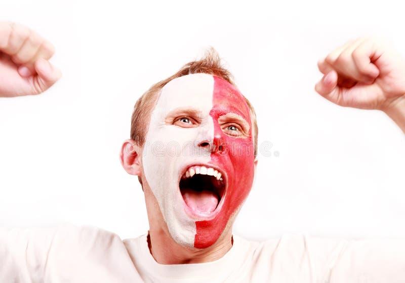 Ventilador gritando emocional de Poland fotos de stock