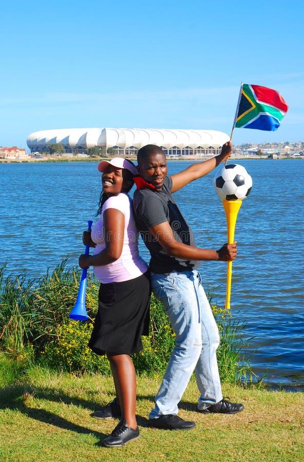 Ventiladores africanos de la taza de mundo del fútbol foto de archivo