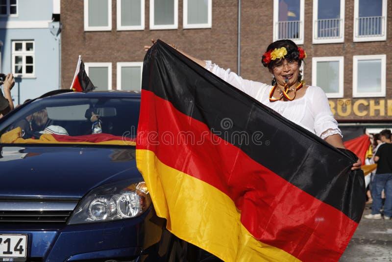 Ventiladores alemães no copo de mundo 2010 imagens de stock