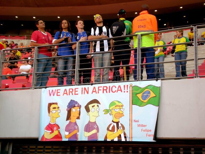 Ventiladores brasileños de la taza de mundo del fútbol fotos de archivo libres de regalías