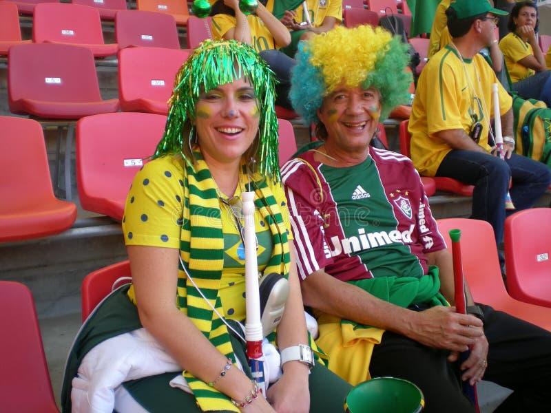 Ventiladores de fútbol brasileños fotos de archivo libres de regalías