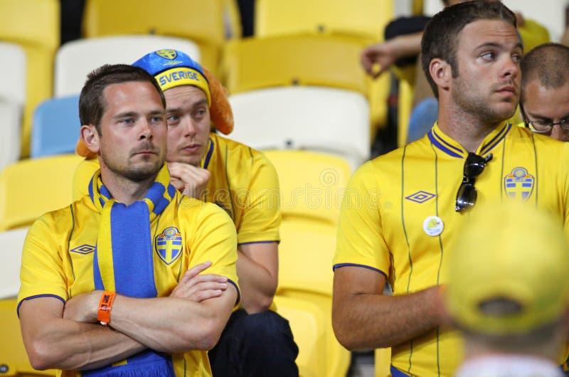 Ventiladores de fútbol suecos foto de archivo libre de regalías