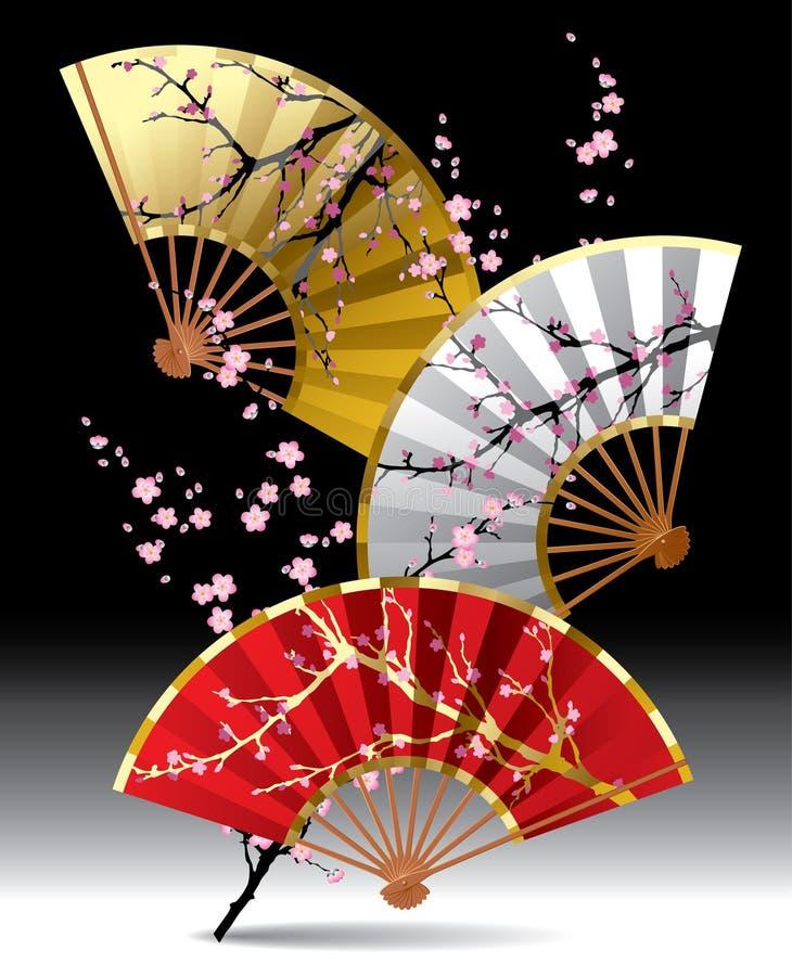 Ventiladores japoneses ilustração stock