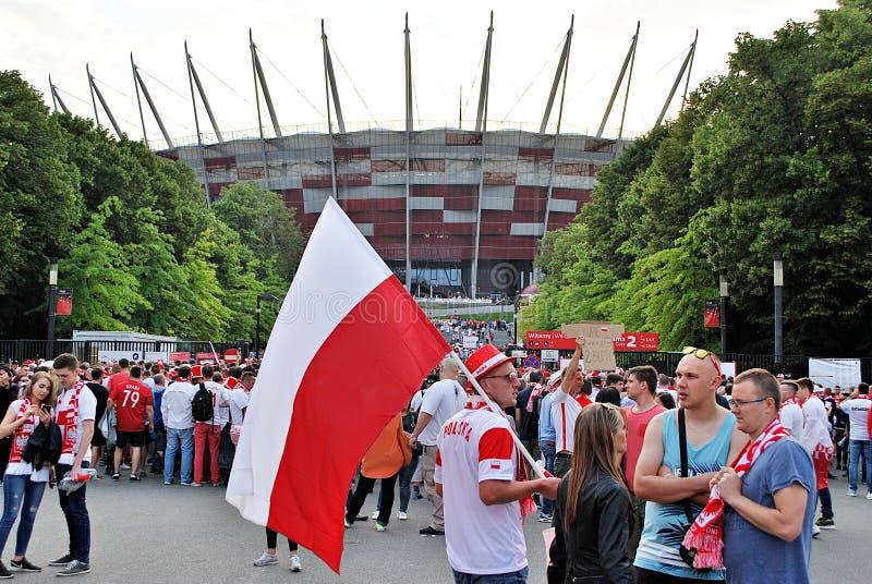 Ventiladores polacos en Varsovia imagen de archivo libre de regalías