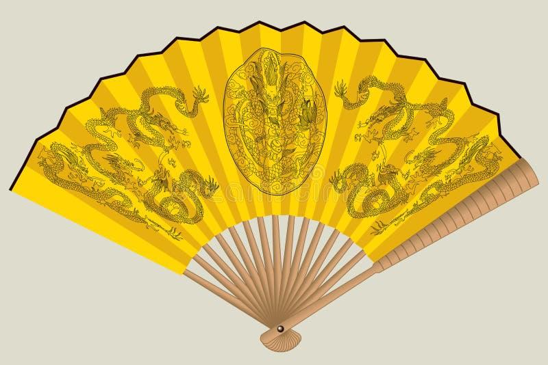 Ventilateur chinois jaune avec des dragons illustration libre de droits