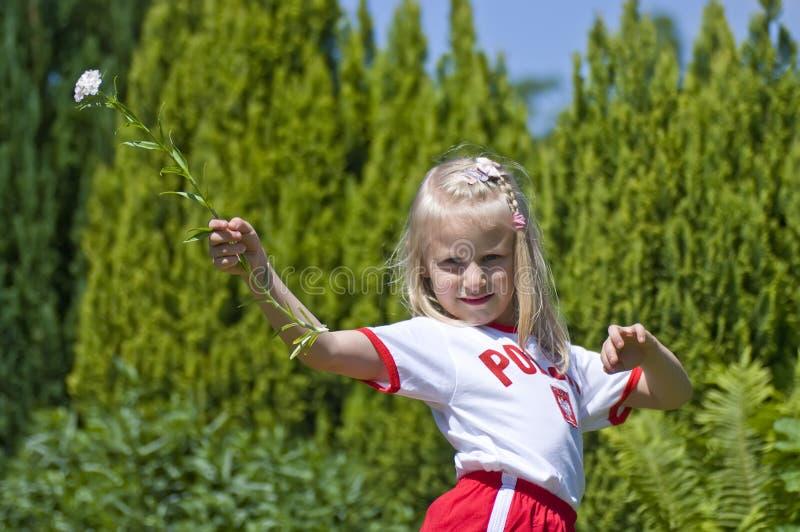 Ventilateur de sports polonais de fille photos stock