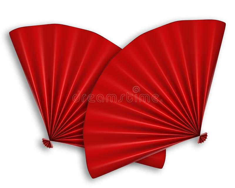 Ventilateur deux chinois rouge d'isolement illustration de vecteur