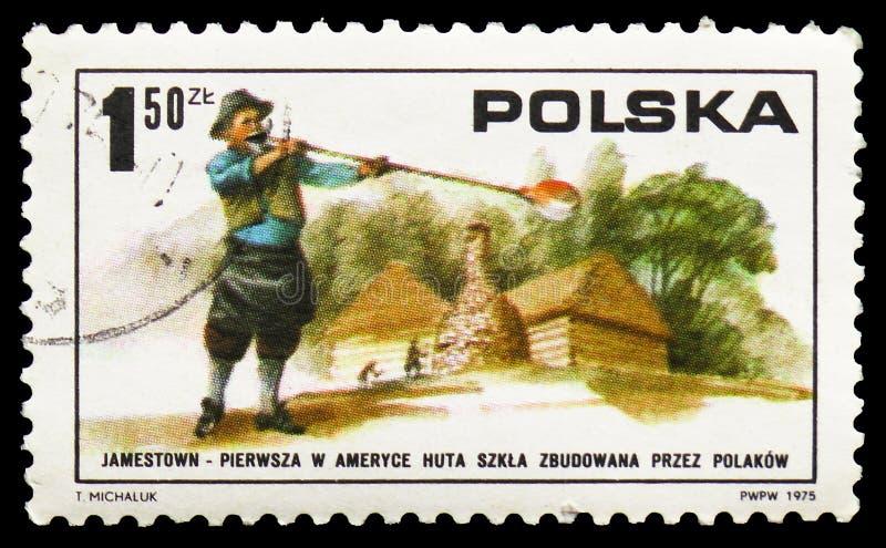 Ventilateur en verre polonais et travaux en verre, Jamestown, 1608, révolution américaine, serie bicentenaire, vers 1975 images libres de droits