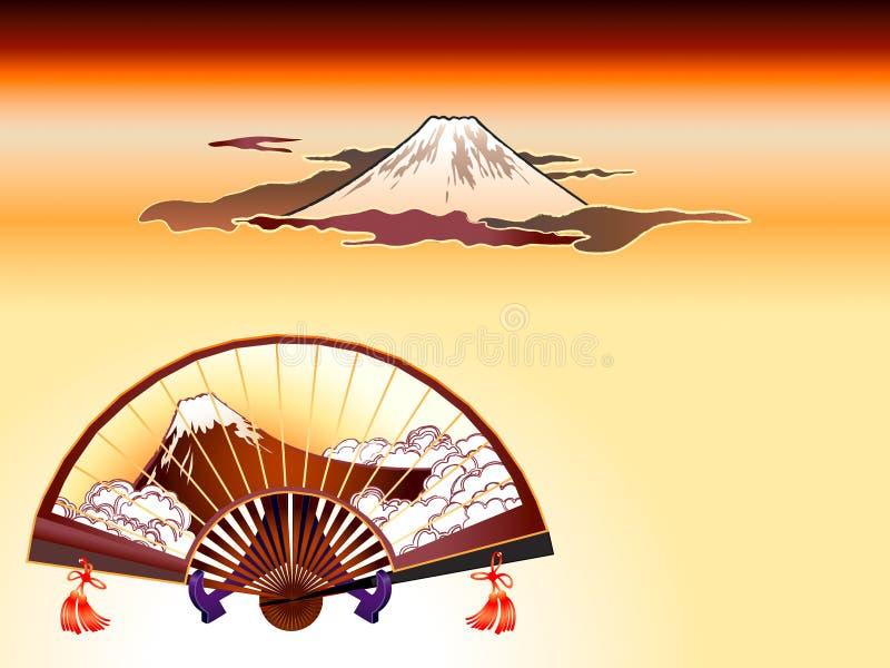 ventilateur se pliant de Fuji-san illustration de vecteur
