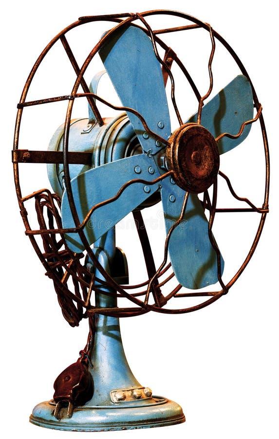 Ventilateurs électriques rustiques antiques bleus d'isolement sur le fond blanc photographie stock libre de droits