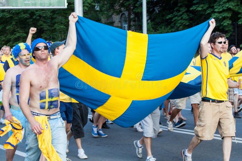 Ventilateurs de l'équipe nationale suédoise photo libre de droits
