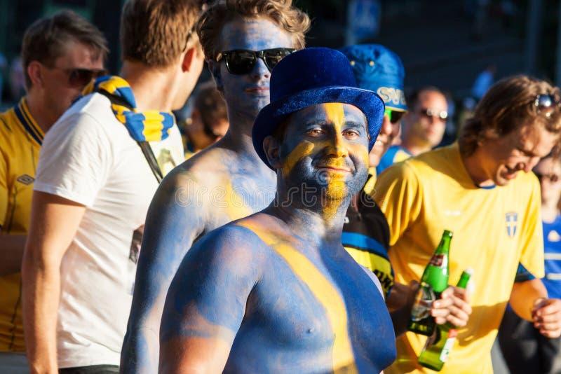Ventilateurs de l'équipe nationale suédoise image libre de droits
