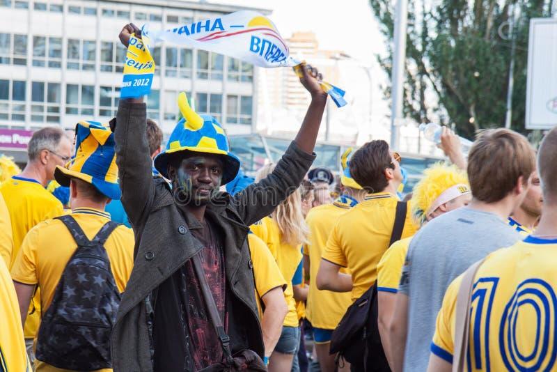 Ventilateurs de l'équipe nationale suédoise photo stock