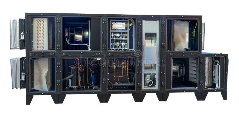 Ventilatieeenheid voor industrieel gebruik op duidelijke achtergrond Warmtewisselaarrotor royalty-vrije stock afbeeldingen