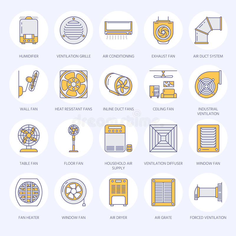 Ventilation equipment flat line icons. Air conditioning, cooling appliances, exhaust fan. Household and industrial. Ventilator thin linear signs for store stock illustration
