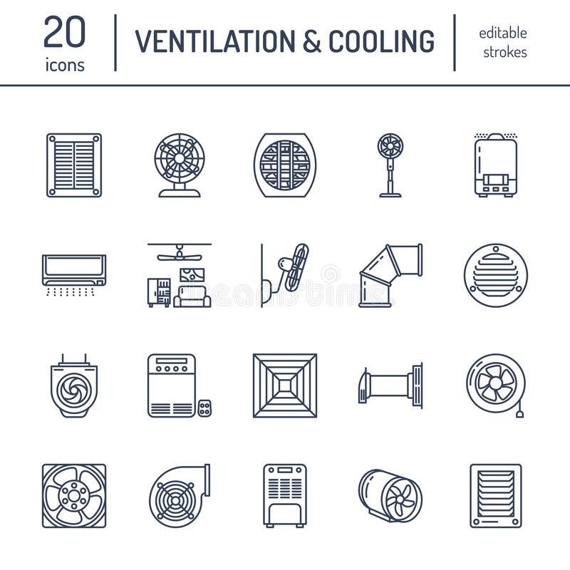 Ventilation equipment line icons. Air conditioning, cooling appliances, exhaust fan. Household and industrial ventilator. Thin linear signs for store vector illustration