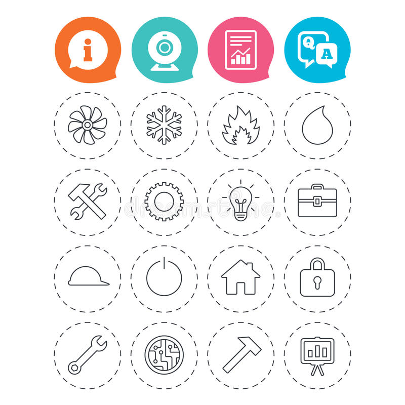 Ventilation, heat and air conditioning icons. Engineering icons. Ventilation, heat and air conditioning symbols. Water supply, repair service and circuit board stock illustration
