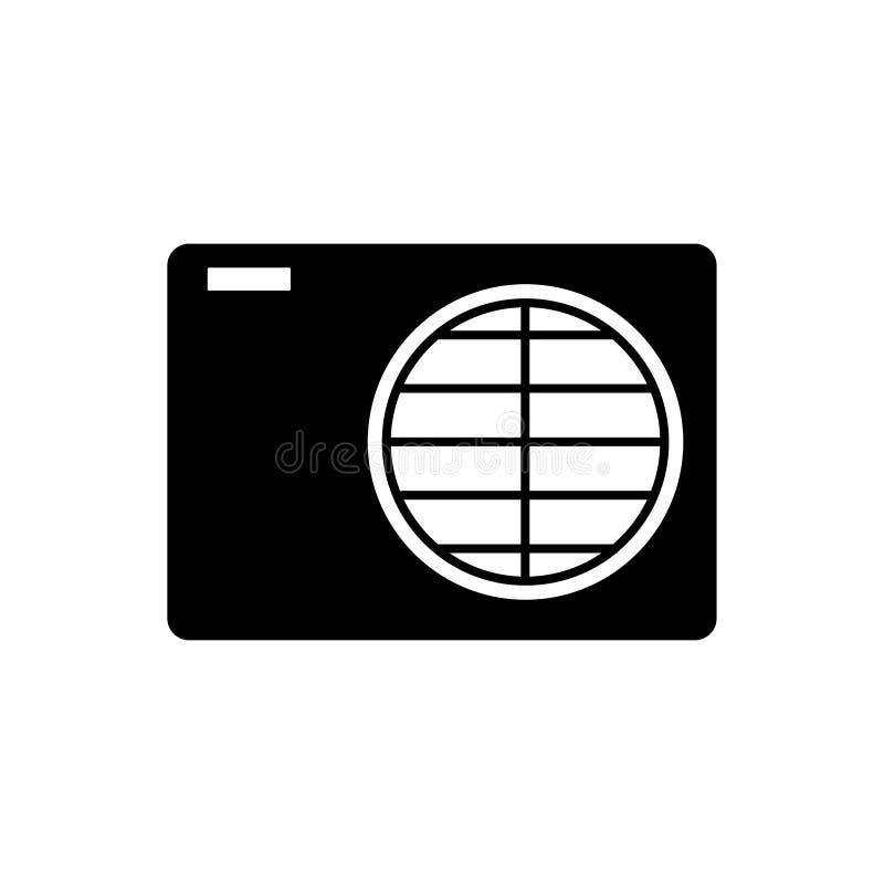 Ventilation icon. black on white background sign. Eps ten stock illustration
