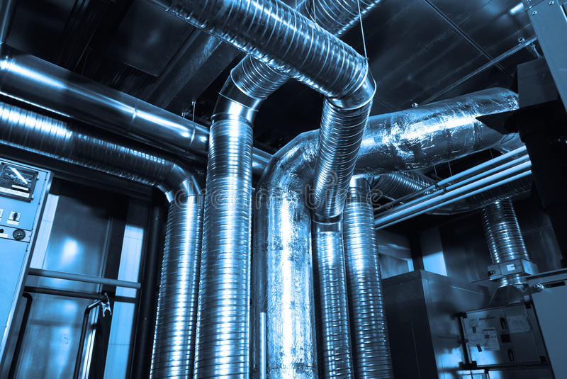 Ventilation pipes of air condition royalty free stock images