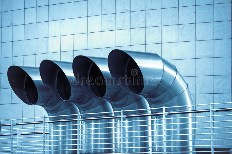 Ventilation pipes. Of industrial building royalty free stock photo