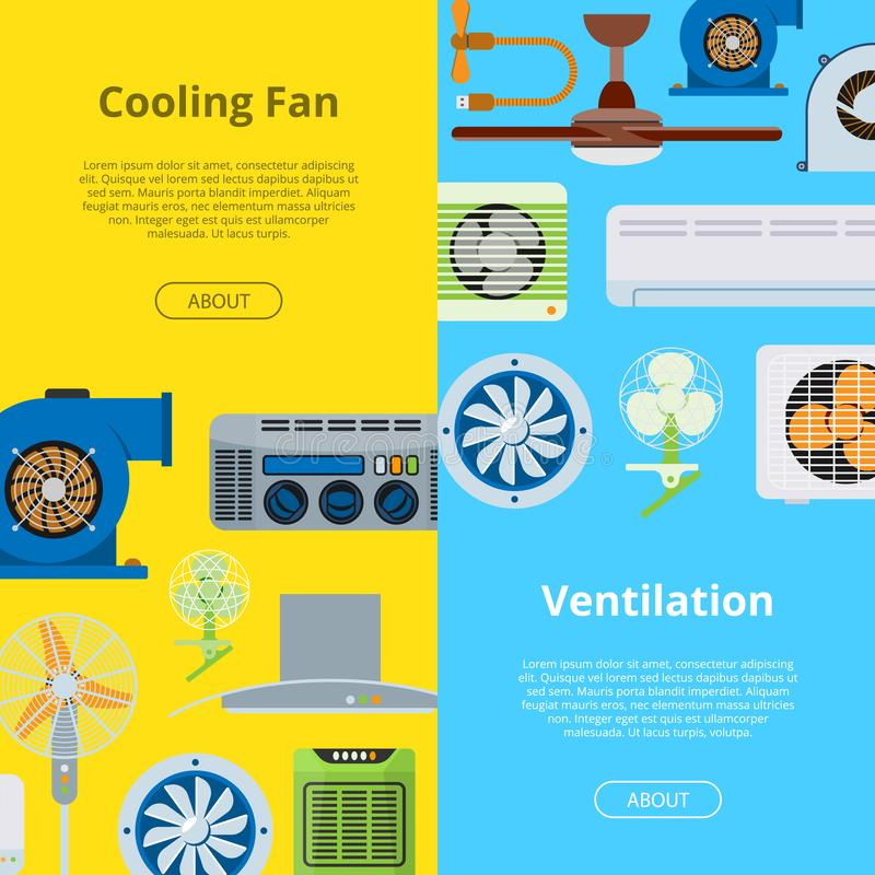 Ventilation vector industrial air conditioner heat cool conditioning system technology illustration backdrop set cooling stock illustration