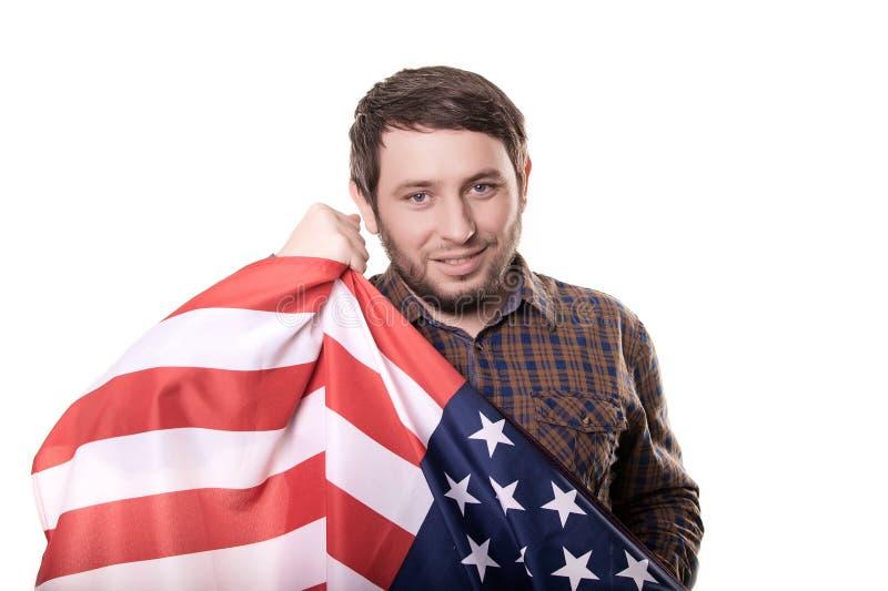 Ventilator die en de vlag van de V.S. vieren houden Geïsoleerdj op witte achtergrond royalty-vrije stock fotografie