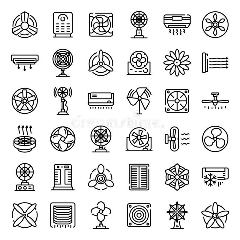 Ventilator icons set, outline style stock illustration