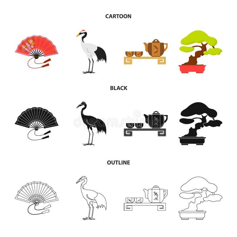 Ventilator, rode kroonkraan, theeceremonie, bonsai Vastgestelde de inzamelingspictogrammen van Japan in beeldverhaal, zwarte, vec stock illustratie