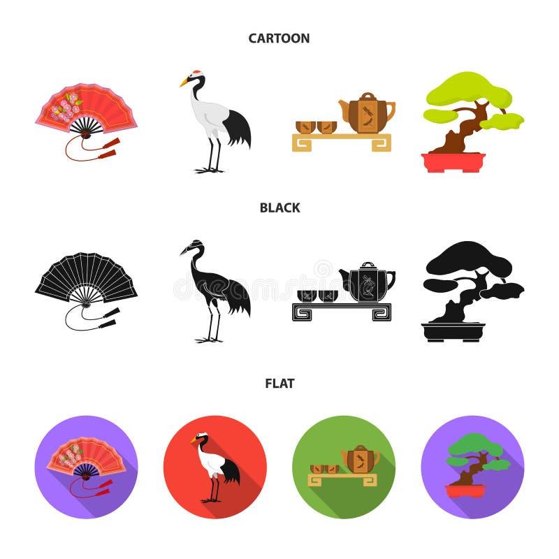 Ventilator, rode kroonkraan, theeceremonie, bonsai Vastgestelde de inzamelingspictogrammen van Japan in beeldverhaal, de zwarte,  royalty-vrije illustratie