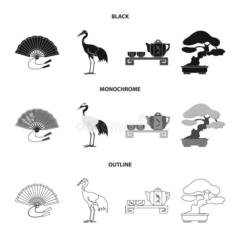 Ventilator, rode kroonkraan, theeceremonie, bonsai Vastgestelde de inzamelingspictogrammen van Japan in het zwarte, zwart-wit, ve vector illustratie