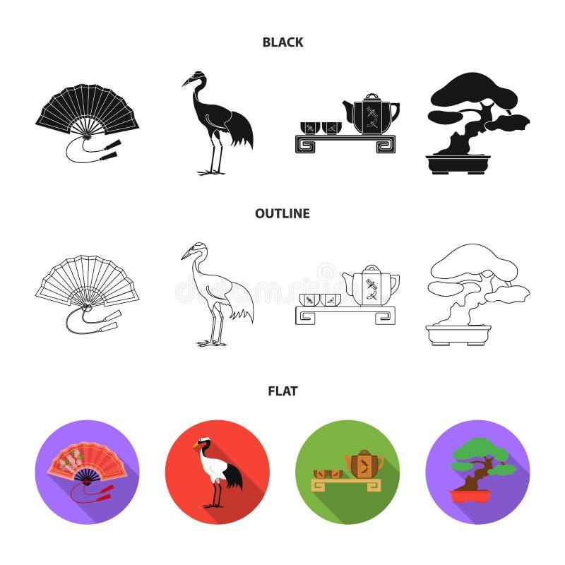 Ventilator, rode kroonkraan, theeceremonie, bonsai Vastgestelde de inzamelingspictogrammen van Japan in zwarte, vlak, vector het  vector illustratie