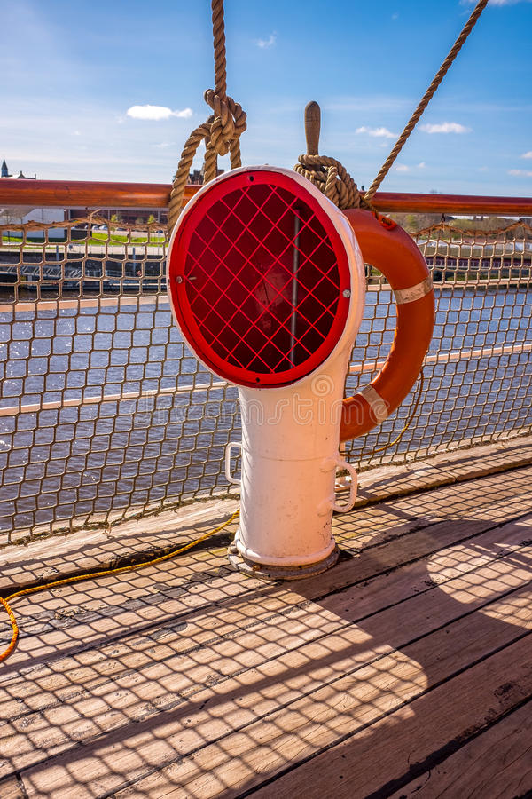 Free Ventilator Ropes Rigging Masts And Stays On Traditional Sailing Ship Stock Images - 89974244
