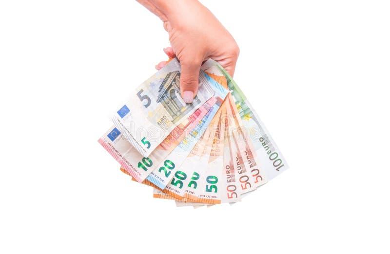 Ventilator van Euro Bankbiljetten Geïsoleerdj op witte achtergrond royalty-vrije stock foto's