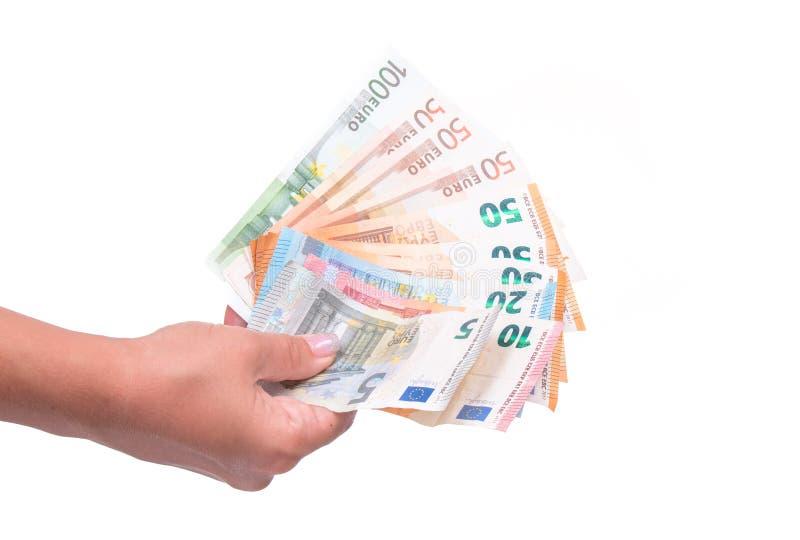 Ventilator van Euro Bankbiljetten Geïsoleerdj op witte achtergrond stock fotografie