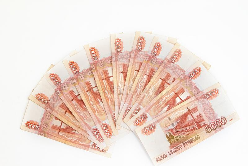 Ventilator van vele bankbiljetten in benamingen van vijf duizend Russische roebels stock fotografie