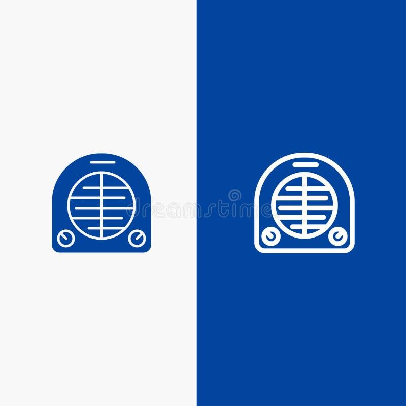 Ventilator, Verwarmer, het Verwarmen, Huislijn en Stevige het pictogram Blauwe banner van Glyph stock illustratie