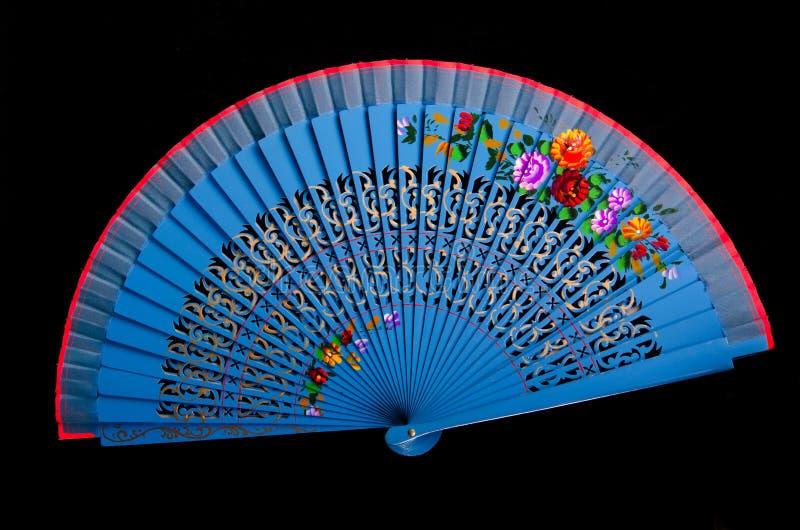 Ventilatore blu della mano della Cina isolato sul nero immagini stock libere da diritti