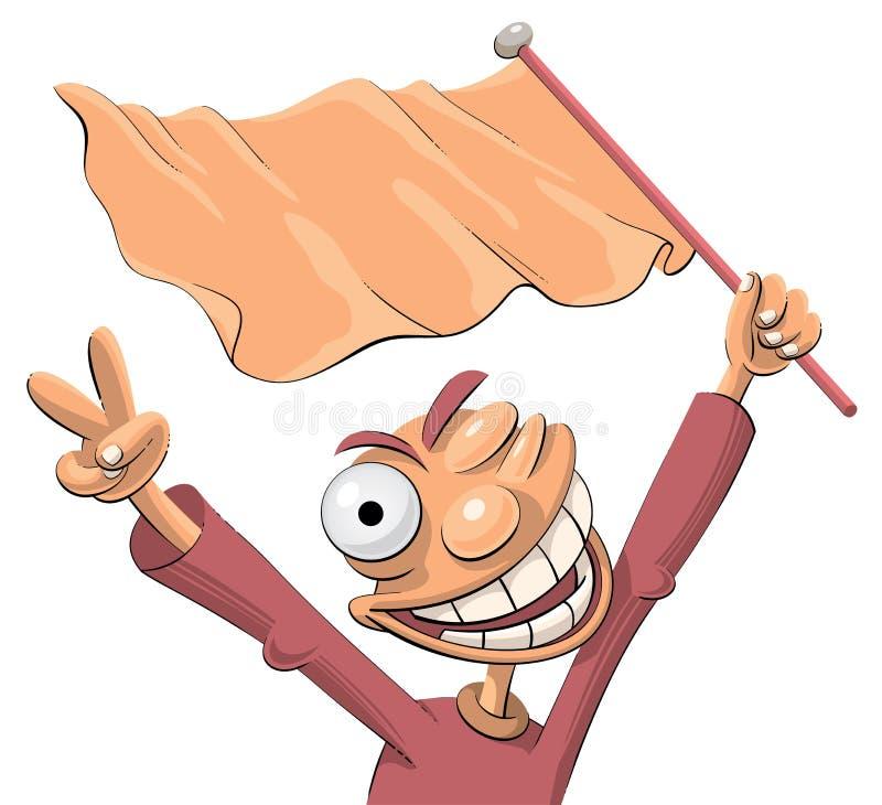 Ventilatore di sport emozionante con una bandierina illustrazione di stock