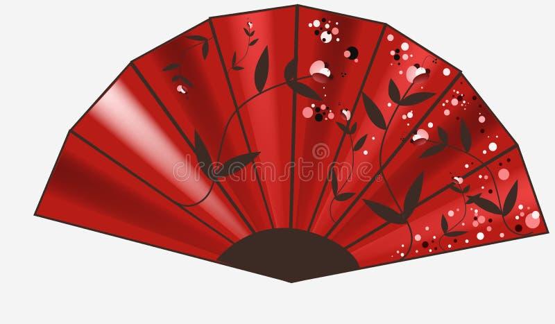 Ventilatore rosso con l'ornamento illustrazione di stock