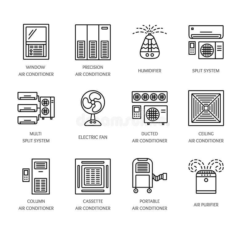 Ventilatorer & luftkonditioneringsapparater Klimatutrustning för sommar Li vektor illustrationer