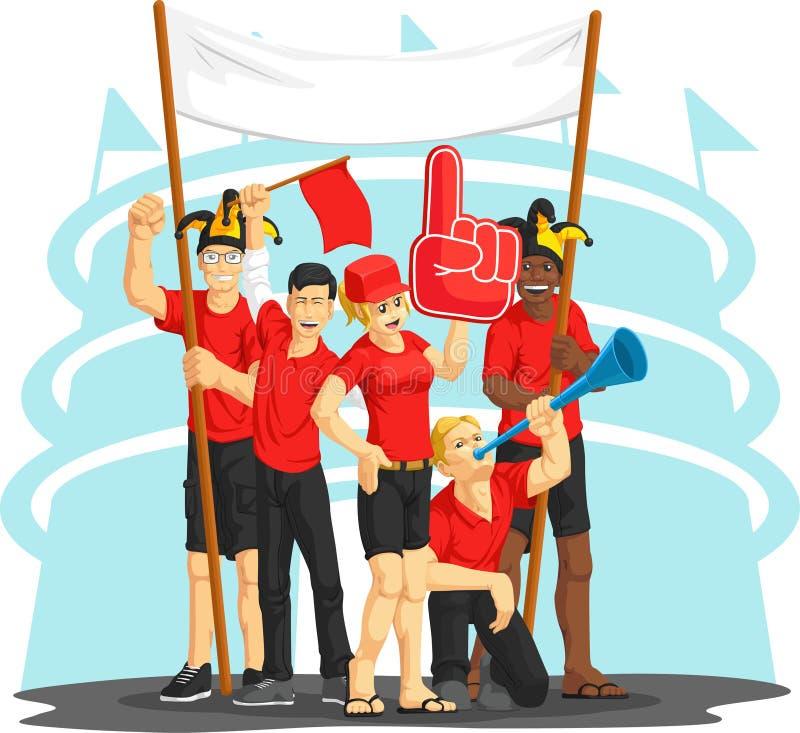 Ventilatorer med den skumfingret, Vuvuzela, flaggan & banret stock illustrationer